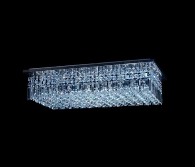 Plafon Sobrepor Retangular Inox Cristal K9 Lapidado Placas e Bolas 80x40 DNA Iluminação Halopin Rtpb-80x40 Banheiros e Salas