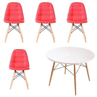 Cadeira Design Fratini Botone Eames Eiffel DAR Ray Pes Madeira Natural Salas Florida Vermelho Branco
