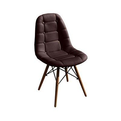 Cadeira Design Fratini Botone Eames Eiffel DAR Ray Pes Madeira Natural Salas Madrid Marrom Café