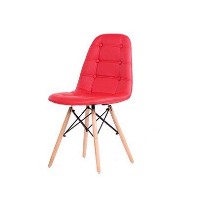 Cadeira Design Fratini Botone Eames Eiffel DAR Ray Pes Madeira Natural Salas Madrid Vermelho