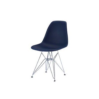 Cadeira Design Fratini Eames Eiffel DAR Ray Pes Ferro Salas Florida Azul Marinho Assento Polipropileno