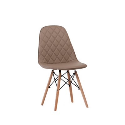 Cadeira Design Fratini Eames Eiffel DAR Ray Pes Madeira Natural Salas Fendi Assento Couro Nice