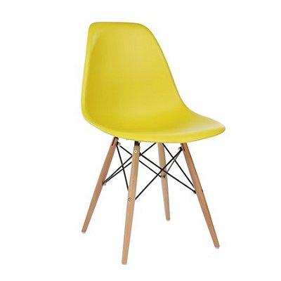Cadeira Design Fratini Eames Eiffel DAR Ray Pes Madeira Natural Salas Florida Amarela Assento Polipropileno