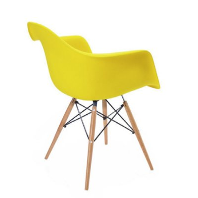 Cadeira Design Fratini Eames Eiffel DAR Ray Pes Madeira Natural Salas Florida Amarela Braços Polipropileno