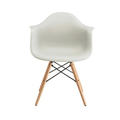 Cadeira Design Fratini Eames Eiffel DAR Ray Pes Madeira Natural Salas Florida Branca Braços Polipropileno