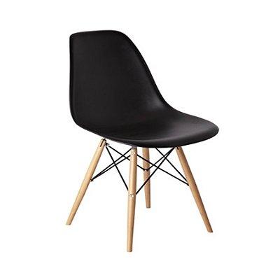 Cadeira Design Fratini Eames Eiffel DAR Ray Pes Madeira Natural Salas Florida Preta Assento Polipropileno