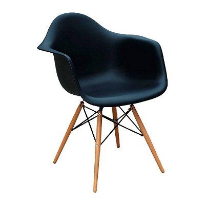 Cadeira Design Fratini Eames Eiffel DAR Ray Pes Madeira Natural Salas Florida Preto Braços Polipropileno