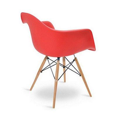 Cadeira Design Fratini Eames Eiffel DAR Ray Pes Madeira Natural Salas Florida Vermelha Braços Polipropileno
