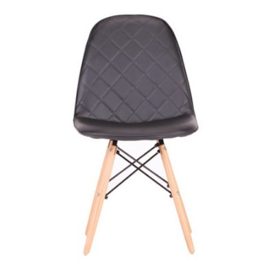 Cadeira Design Fratini Eames Eiffel DAR Ray Pes Madeira Natural Salas Preto Assento Couro Nice