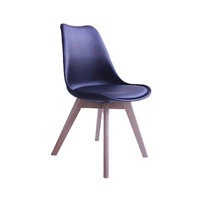 Cadeira Design Fratini Eames Eiffel DAR Ray Pes Madeira Natural Salas Siena Preto Assento Couro