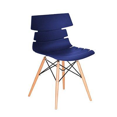 Cadeira Design Fratini Eames Eiffel DAR Ray Pes Madeira Natural Salas Valencia Azul Marinho Assento Polipropileno
