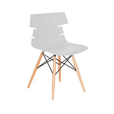 Cadeira Design Fratini Eames Eiffel DAR Ray Pes Madeira Natural Salas Valencia Branco Assento Polipropileno