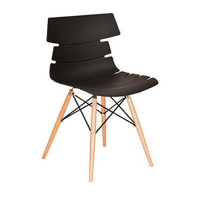 Cadeira Design Fratini Eames Eiffel DAR Ray Pes Madeira Natural Salas Valencia Preto Assento Polipropileno