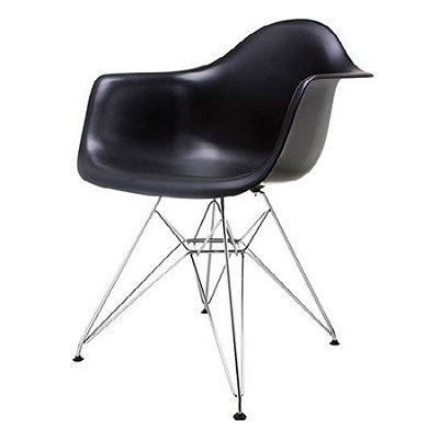 Cadeira Design Fratini Eames Eiffel DAR Ray Pes Metal Salas Florida Preto Braços Polipropileno