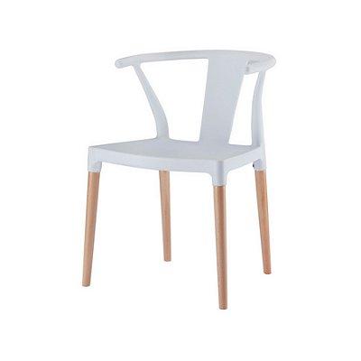 Cadeira Design Fratini Eiffel Eames Madeira Natural Base Assento Polipropileno Redondo Bares Restaurantes Branca Amsterdam