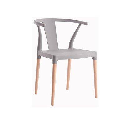 Cadeira Design Fratini Eiffel Eames Madeira Natural Base Assento Polipropileno Redondo Bares Restaurantes Cinza Amsterdam