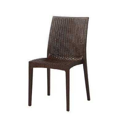 Cadeira Design Vime Fratini Ibiza Marrom Ambiente Externo e Interna Tramas tipo Rattan Cozinhas Varandas Salas