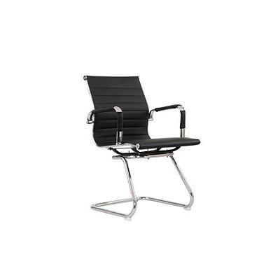 Cadeira Escritorio Fratini Office Rodizio Eames Manhattan Preto Cromado Fixa Diretor Com Braços