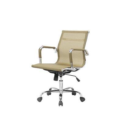 Cadeira Escritorio Fratini Office Rodizio Sidney Dourado Eames Cromado Giratoria Presidente Com Braços