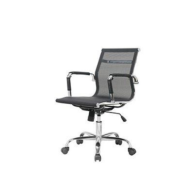 Cadeira Escritorio Fratini Office Rodizio Sidney Preto Eames Cromado Giratoria Presidente Com Braços