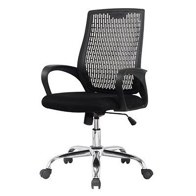 Cadeira Escritorio Office Rodizio Singapura Preto Eames Cromado Giratoria Presidente Com Braços Fratini