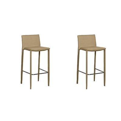 Kit 2x Banco Banqueta Fratini Design Quadrada Fendi Assento Estofado Tecido Couro Moderna Cozinhas Salas Zurique