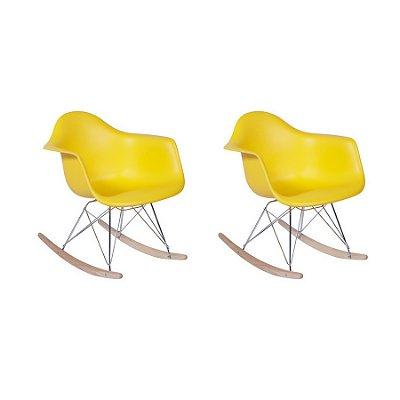Kit 2x Cadeira Balanço Design Eames Eiffel DAR Ray Salas Florida Amarelo Braços Polipropileno Fratini