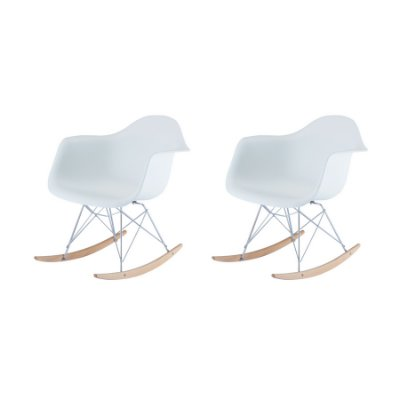 Kit 2x Cadeira Balanço Design Eames Eiffel DAR Ray Salas Florida Branco Braços Polipropileno Fratini