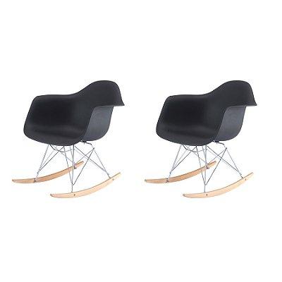 Kit 2x Cadeira Balanço Design Eames Eiffel DAR Ray Salas Florida Preto Braços Polipropileno Fratini