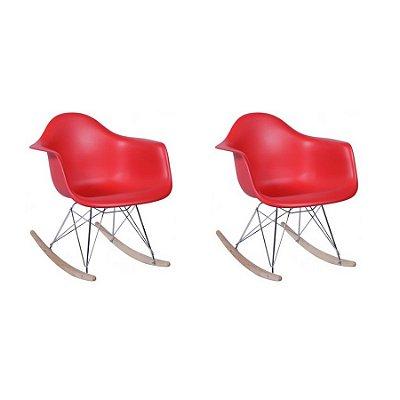 Kit 2x Cadeira Balanço Design Eames Eiffel DAR Ray Salas Florida Vermelha Braços Polipropileno Fratini