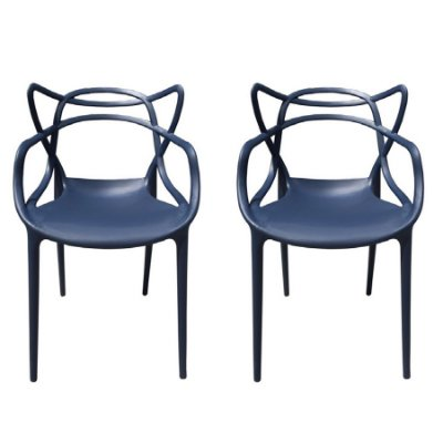 Kit 2x Cadeira Design Alegra Master Philippe Starck Azul Marinho Polipropileno Cozinhas Aviv Fratini