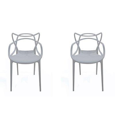 Kit 2x Cadeira Design Alegra Master Philippe Starck Cinza Claro Polipropileno Cozinhas Aviv Fratini