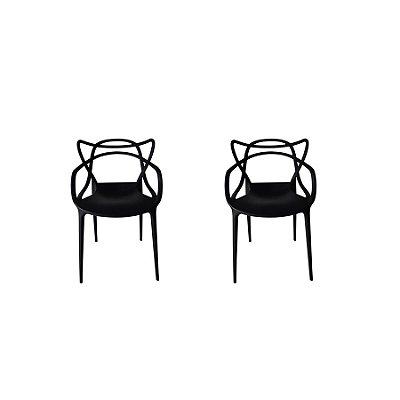 Kit 2x Cadeira Design Alegra Master Philippe Starck Preta Polipropileno Cozinhas Aviv Fratini