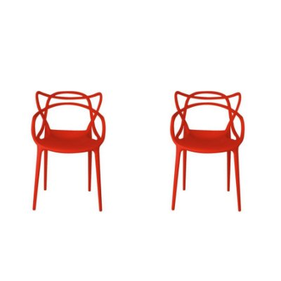Kit 2x Cadeira Design Alegra Master Philippe Starck Vermelha Polipropileno Cozinhas Aviv Fratini