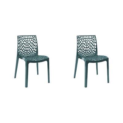 Kit 2x Cadeira Design Azul Petroleo Vermelho Externa e Interna Cozinhas Salas Restaurantes Fratini