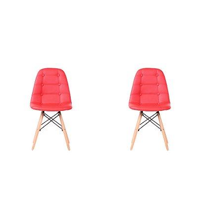 Kit 2x Cadeira Design Botone Eames Eiffel DAR Ray Pes Madeira Salas Madrid Vermelho  Fratini