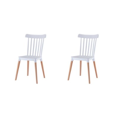 Kit 2x Cadeira Design Classica Windsor Madeira Restaurantes Salas Gourmet Roma Branco Fratini