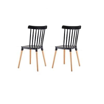 Kit 2x Cadeira Design Classica Windsor Madeira Restaurantes Salas Gourmet Roma Preto Fratini