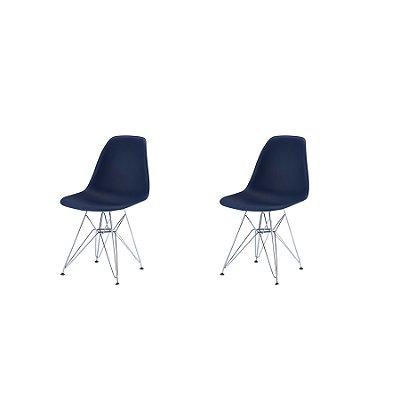 Kit 2x Cadeira Design Eames Eiffel DAR Ray Pes Ferro Salas Florida Amarela Assento Polipropileno Fratini