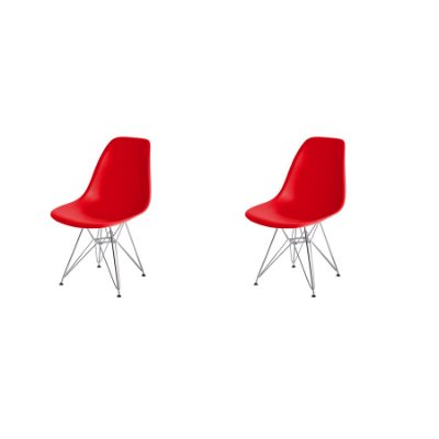 Kit 2x Cadeira Design Eames Eiffel DAR Ray Pes Ferro Salas Florida Vermelha Assento Polipropileno Fratini