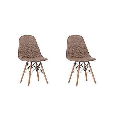 Kit 2x Cadeira Design Eames Eiffel DAR Ray Pes Madeira Salas Fendi Assento Couro Nice Fratini
