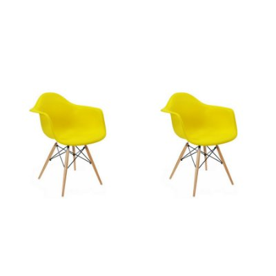 Kit 2x Cadeira Design Eames Eiffel DAR Ray Pes Madeira Salas Florida Amarela Braços Polipropileno Fratini