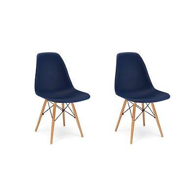Kit 2x Cadeira Design Eames Eiffel DAR Ray Pes Madeira Salas Florida Azul Marinho Assento Polipropileno Fratini