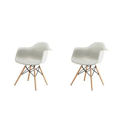 Kit 2x Cadeira Design Eames Eiffel DAR Ray Pes Madeira Salas Florida Branca Braços Polipropileno Fratini