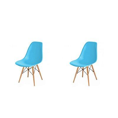 Kit 2x Cadeira Design Eames Eiffel DAR Ray Pes Madeira Salas Florida New Blue Assento Polipropileno Fratini