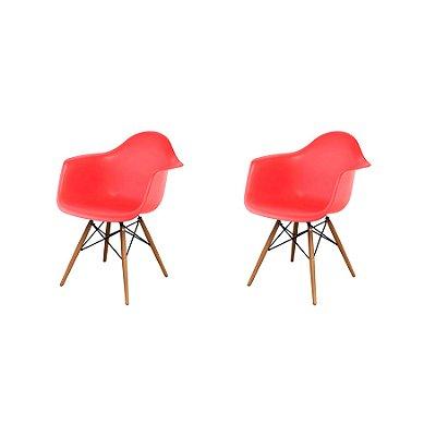 Kit 2x Cadeira Design Eames Eiffel DAR Ray Pes Madeira Salas Florida Vermelha Braços Polipropileno Fratini