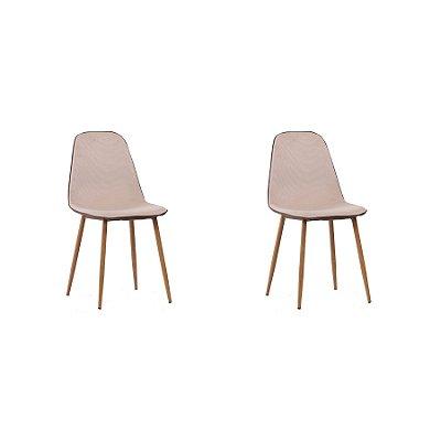 Kit 2x Cadeira Design Eames Eiffel DAR Ray Pes Madeira Salas Lyon Bege Marrom Assento Polipropileno Fratini