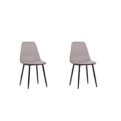 Kit 2x Cadeira Design Eames Eiffel DAR Ray Pes Madeira Salas Lyon Cinza Assento Polipropileno Fratini