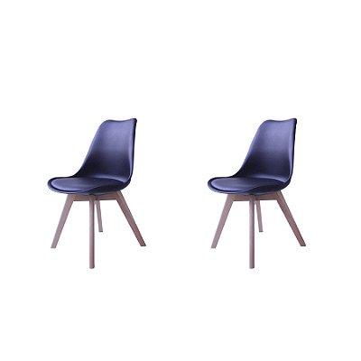 Kit 2x Cadeira Design Eames Eiffel DAR Ray Pes Madeira Salas Siena Preto Assento Couro Fratini