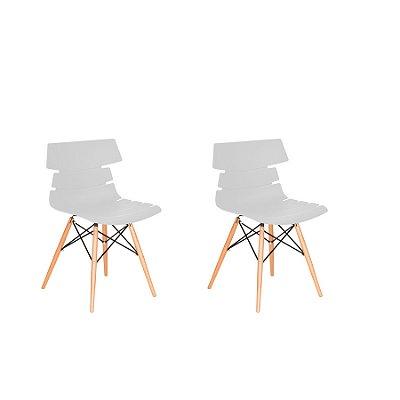 Kit 2x Cadeira Design Eames Eiffel DAR Ray Pes Madeira Salas Valencia Branco Assento Polipropileno Fratini